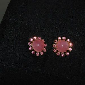 Pink Cabechon Clip Earrings w/ Pink Rhinestones